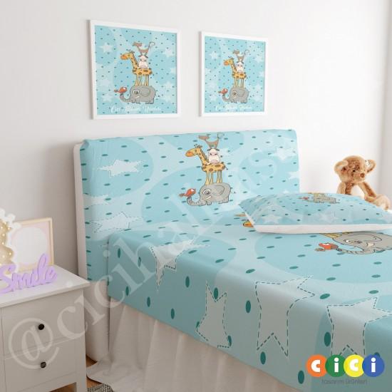 Puantiyeli Sevimli Hayvanlar Çocuk Odası Baza Yatak Başlık Kılıfı - BBK-114