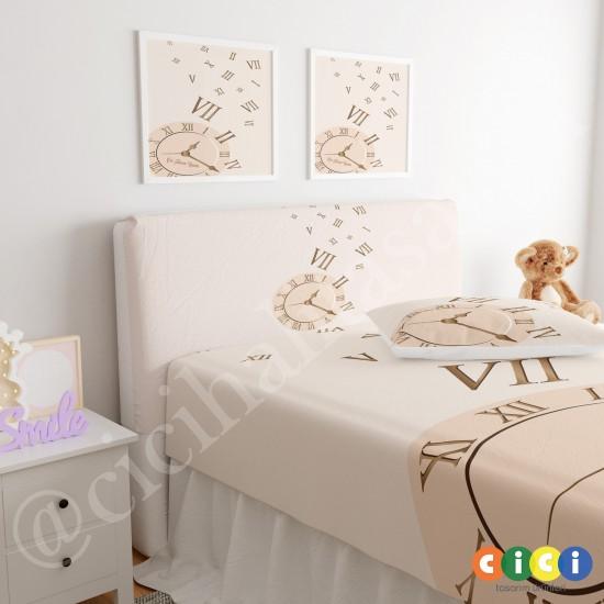 Saat Desen Çocuk Odası Baza Yatak Başlık Kılıfı - BBK-116