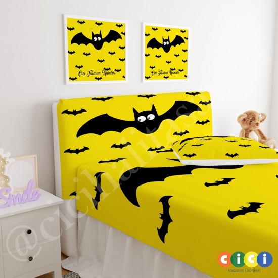Sarı Zemin Sevimli Yarasa Çocuk Odası Baza Yatak Başlık Kılıfı - BBK-119