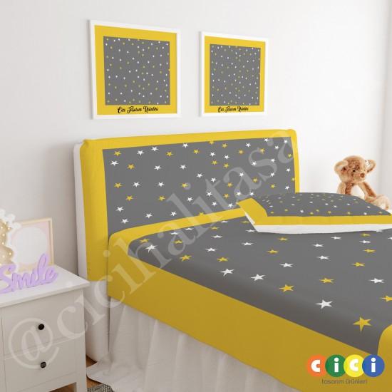 Sarı Kenar Gri Zemin ve Yıldızlar Çocuk Odası Baza Yatak Başlık Kılıfı - BBK-120