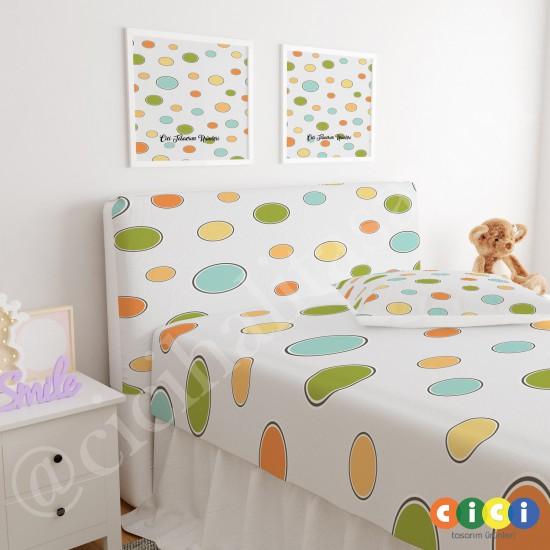 Renkli Büyük Puantiyeler Çocuk Odası Baza Yatak Başlık Kılıfı - BBK-130