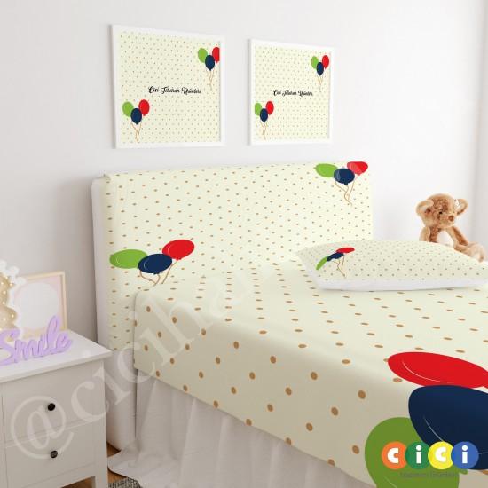 Renkli Uçan Balonlar Çocuk Odası Baza Yatak Başlık Kılıfı - BBK-139