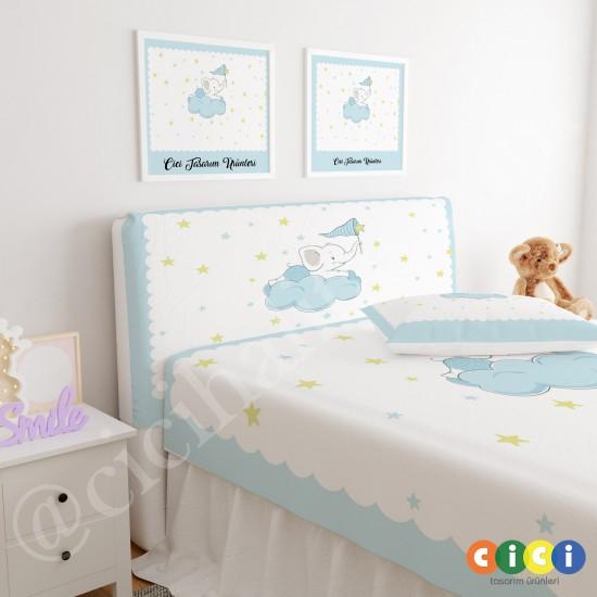 Bulut Üstünde Fil Çocuk Odası Baza Yatak Başlık Kılıfı - BBK-144