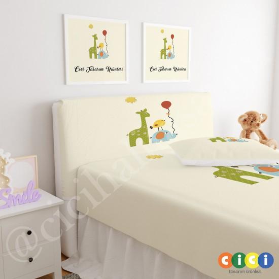 Zürafa Fil ve Kuş Çocuk Odası Baza Yatak Başlık Kılıfı - BBK-160