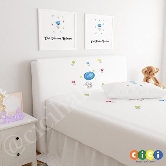 Renkli Balonlar ve Filler Çocuk Odası Baza Yatak Başlık Kılıfı - BBK-163