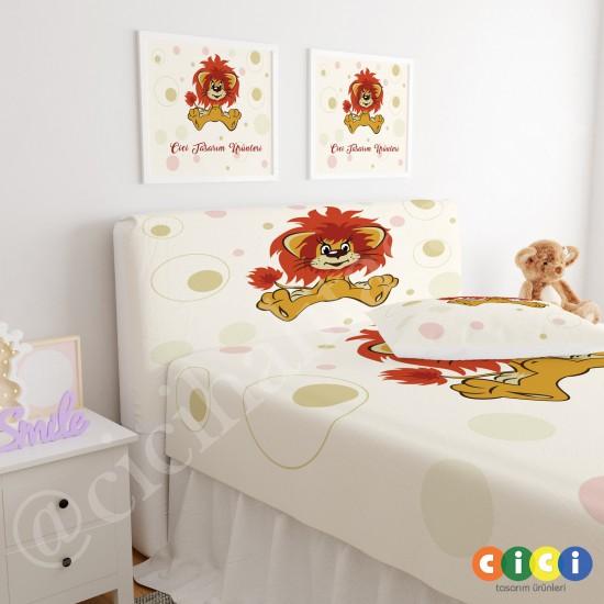 Sevimli Aslan Çocuk Odası Baza Yatak Başlık Kılıfı - BBK-202