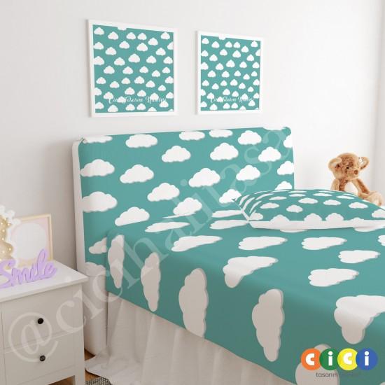 Yeşil Zemin Beyaz Bulutlar Çocuk Odası Baza Yatak Başlık Kılıfı - BBK-205