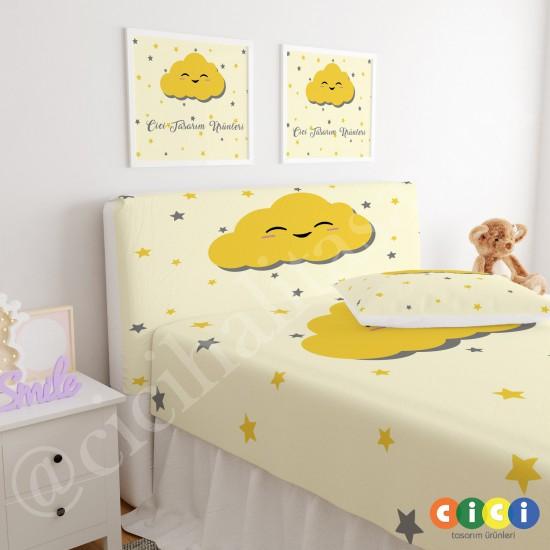 Yıldızlar ve Sevimli Sarı Bulut Çocuk Odası Baza Yatak Başlık Kılıfı - BBK-211