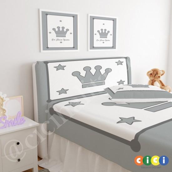 Dört Yıldız ve Taç Erkek Çocuk Odası Baza Yatak Başlık Kılıfı - BBK-212