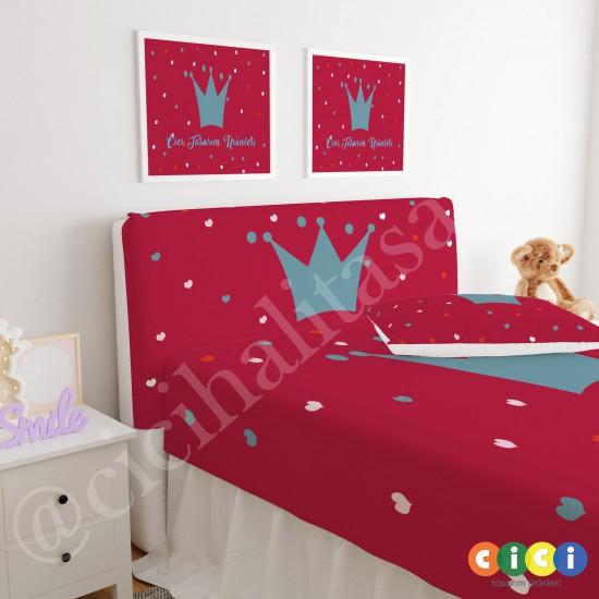 Kırmızı Zemin Taç Çocuk Odası Baza Yatak Başlık Kılıfı - BBK-221
