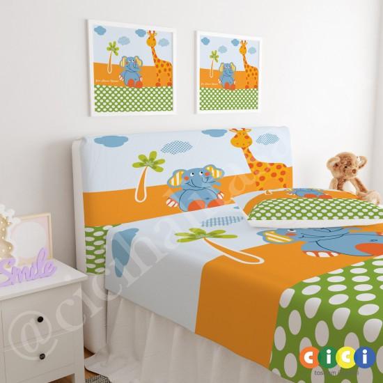 Ağaç Fil Zürafa ve Kelebek Çocuk Odası Baza Yatak Başlık Kılıfı - BBK-230