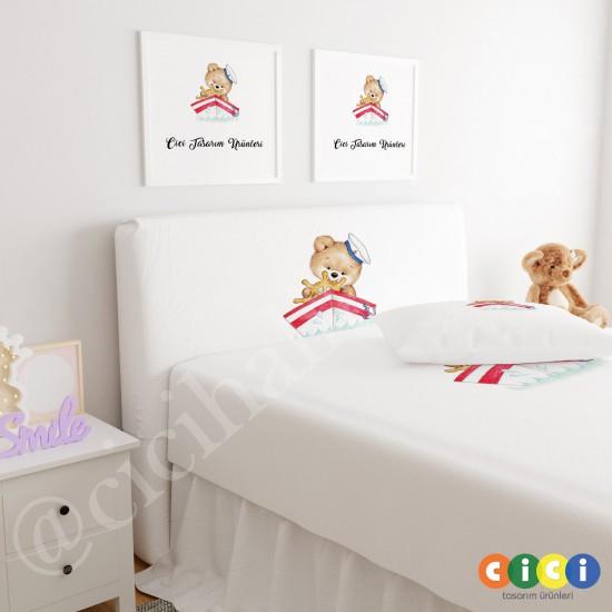 Sarı Ay ve Sevimli Ayıcık Çocuk Odası Baza Yatak Başlık Kılıfı - BBK-242