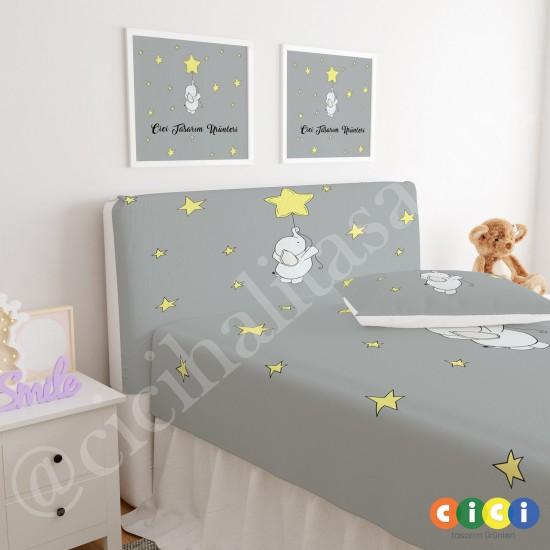 Sevimli Fil ve Sarı Yıldız Balon Çocuk Odası Baza Yatak Başlık Kılıfı - BBK-250