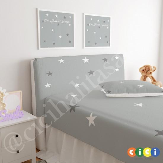 Gri Zemin Gri ve Beyaz Yıldızlar Çocuk Odası Baza Yatak Başlık Kılıfı - BBK-269
