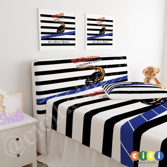Çizgi Desenli Yarış Arabası Çocuk Odası Baza Yatak Başlık Kılıfı - BBK-275