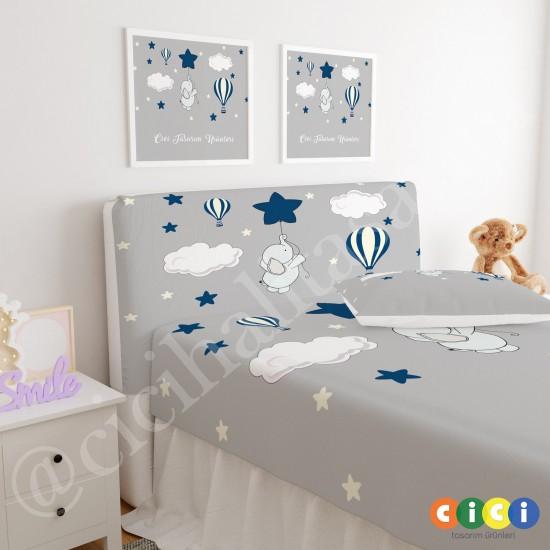 Uçan Fil Balon ve Yıldızlar Çocuk Odası Baza Yatak Başlık Kılıfı - BBK-296