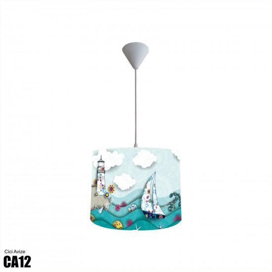 Dalgalı Deniz Erkek Çocuk Odası  (Deniz Kabuğu, Deniz Feneri, Deniz Yıldızı, Çapa Balıklar, Yelkenli, Gemici) Avize-CA12