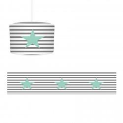 Çizgi Desenli Mint Yıldız Erkek Çocuk Odası Avize-CA267