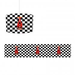 Dama Desenli Kırmızı Yarış Arabası Erkek Çocuk Odası Avize-CA29
