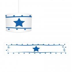 Beyaz Zemin Kenarı Puantiyeli Mavi Yıldız Erkek Çocuk Odası Avize-CA51