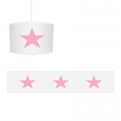 Beyaz Zemin Pembe Yıldız Kız Çocuk Odası Avize-CA562
