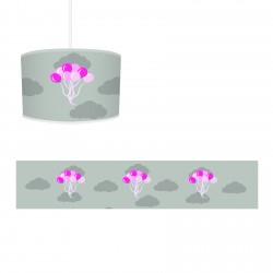 Gri Zemin Renkli Uçan Bulutlar Kız Çocuk  Avize-CA595