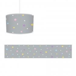 Rengarenk Yıldızlar ve Gri Zemin Kız Çocuk  Avize-CA639