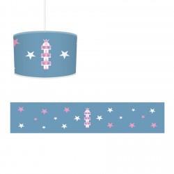 Taçlı Mavi Pembe Kız Çocuk Odası Avize-CA759