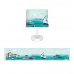 Dalgalı Deniz Erkek Çocuk Odası  (Deniz Kabuğu, Deniz Feneri, Deniz Yıldızı, Çapa Balıklar, Yelkenli, Gemici) Abajur-CAJ12