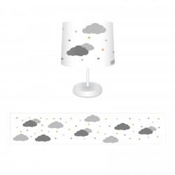 Beyaz Zemin Bulutlar ve Renkli Yıldızlar Erkek Çocuk  Abajur-CAJ264