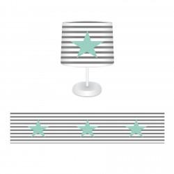 Çizgi Desenli Mint Yıldız Erkek Çocuk Odası Abajur-CAJ267