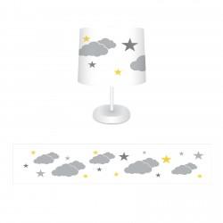 Beyaz Zemin Gri-Sarı Yıldızlar ve Bulutlar Erkek Çocuk Odası Abajur-CAJ295
