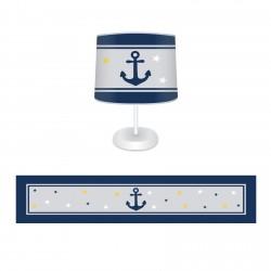 Denizci Çapa ,Sarı-Mavi Yıldızlar Erkek Çocuk Odası Abajur-CAJ299