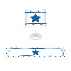 Beyaz Zemin Kenarı Puantiyeli Mavi Yıldız Erkek Çocuk Odası Abajur-CAJ51