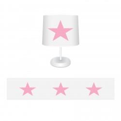 Beyaz Zemin Pembe Yıldız Kız Çocuk Odası Abajur-CAJ562