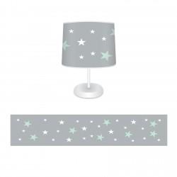Mint Yeşili ve Beyaz Yıldızlar Kız Çocuk Odası Abajur-CAJ635