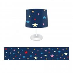 Renkli Yıldızlar ve Koyu Zemin Kız Çocuk  Abajur-CAJ643