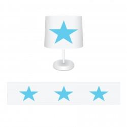 Beyaz Zemin Mavi Yıldız Erkek Çocuk Odası Abajur-CAJ66