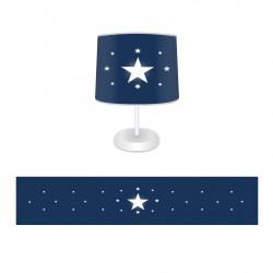 Beyaz Yıldız Lacivert Zemin Çocuk  Abajur-CAJ69