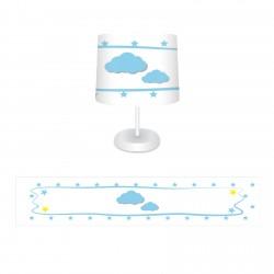 Kenar Puantiyeli Bulut ve Yıldızlar Erkek Çocuk  Abajur-CAJ92