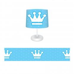 Mavi Zemin Beyaz Büyük Taçlar Erkek Çocuk  Abajur-CAJ95