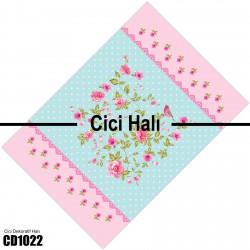 Puantiyeli Zemin Pembe Çiçekler ve Kuş Desenli Dekoratif Halısı-CD1022