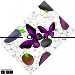 Beyaz Taş Mor Kelebek Desenli Dekoratif Halısı-CD1030