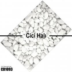 3 Boyutlu Beyaz Taşlar Dekoratif Halısı-CD1093