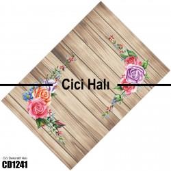Açık Ahşap Zemin Köşe Çiçek Dekoratif Halısı-CD1241