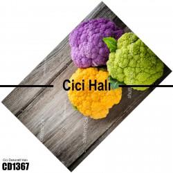 Ahşap Zemin 3 Renk Temalı Dekoratif Halısı-CD1367