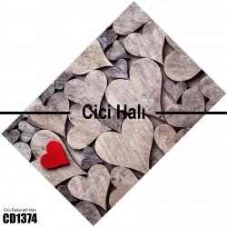 Ahşap Kalpler Dekoratif Halısı-CD1374