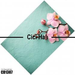 Açık Yeşil Zeminli Dallı Çiçek Dekoratif Halısı-CD1387