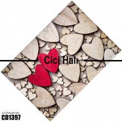 Ahşap Kalp Dekoratif Halısı-CD1397