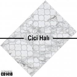 Açık Beyaz Eskitme Desenli Dekoratif Halısı-CD1418